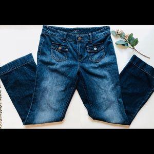 LOFT modern wide leg denim trousers • size 10